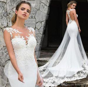 2020 Einfacher Arabisch Naher Osten Mermaid Brautkleider mit Rundhalsausschnitt Spitze Gericht Zug Ivory Vintage-Brautkleider