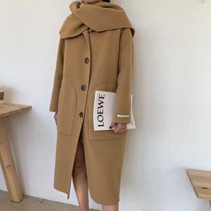 Misturas de lã das mulheres revestimento do outono e popular casaco de lã Outwear com dois lados inverno novo casaco camelo Europeia