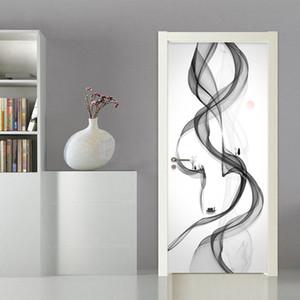 Autocolante na porta autoadesivo sumário do fumo impressão Diy lona Imagem Wall Art Home Decor Mural Roupeiro Renovação Decal T200609