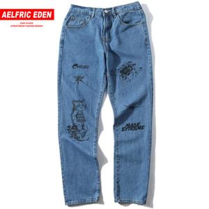 Aelfric Eden Urban Jeans Men Spring Summer Casual Button  Trousers Creative Pattern Print Denim Baggy Joggers Hip Hop Pants