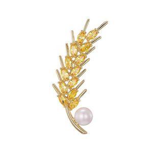 MGFam (061H) Broches de perlas para mujer de CZ Wheatears completos Champagne Cubic Zircon chapado en oro 18k