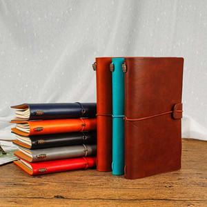 22 * 12 cm 76 hojas de cuaderno de bocetos de escritorio Pu Cuadernos de cuero del diario personal Revistas Sketchbook diario de anotaciones de Agendas regalo