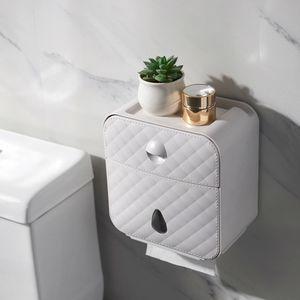 Papel higiénico titular pared impermeable sostenedor de la toalla de papel instalada Wc rollo de papel del soporte del tubo de la caja de almacenaje de baño Accesorios Y200108