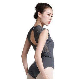 Bale Leotard dantel tankı dans Leotard jimnastik yüksek boyun yetişkin leotards dancewear kadın balerin için bale mayoları