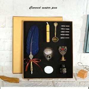 European retro sprinkling gold feather pen student British dip water pen birthday set gift box