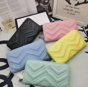 Italian brand wave pattern love wallets leather zipper long wallets coin purses ladies multi-card position credit card holder clutch bags