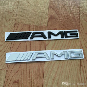 Voiture Queue Logo 3D ABS Chrome Argent Noir AMG Badge Autocollant Pour Benz tronc arrière Decal SL SLK Classe CLK