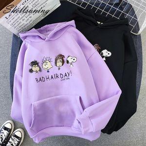 Shellsuning camisetas de las mujeres 2019 otoño invierno de la historieta de Kawaii de impresión sudaderas paño grueso y suave suave flojo hembra básica de Harajuku Pullover