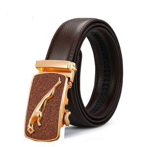 High Quality men's leather genuine belt brown fashion alloy luxury automatic buckle youth leather simple business men's belt