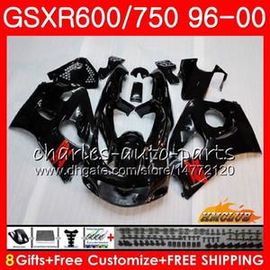 Pour le corps SUZUKI GSXR SRAD 750 600 GSXR600 GSXR750 96 97 98 99 00 1HC.1 GSXR750 GSXR600 brillant noir 1996 1997 1998 1999 2000 Carénage kit