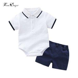 Xirubaby Baby Boy Conjuntos de ropa 2018 Summer Newborn Boy Camisetas Romper + shorts 2 unids Sport Suit Infant Boys Conjuntos de ropa informal J190520