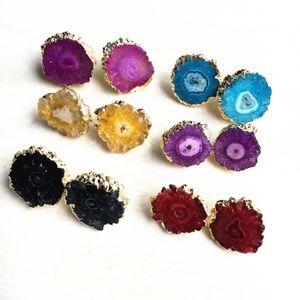 골드 태양의 종유석 Druzy 스터드 귀걸이 사랑 스럽다 꽃 좋은 품질의 자연 마노 Druzy Drusy 스터드 귀걸이 자연석 보석