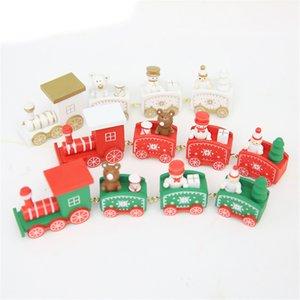 Trem do Natal pintado Madeira Decoração de Natal para casa com Papai / Bear Xmas Kid Toys presente do ornamento Navidad Ano Novo presente JK1910