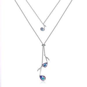 Swarovski élément S925 collier pendentif multicolore en argent sterling collier note de musique romantique surprise, POTALA315 de bijoux
