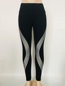Frühlings-Sommer-Laser Reflective Damen Leggings Solid Color mittlere Taillen-Yoga-Hosen Sport-Art-Frauen Kleidung