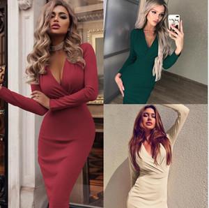 Designer Womens Bodycon V Neck Vestidos Soild Cor Sexy Autumn Roupa Partido Womens Para Fashion Dress Casual
