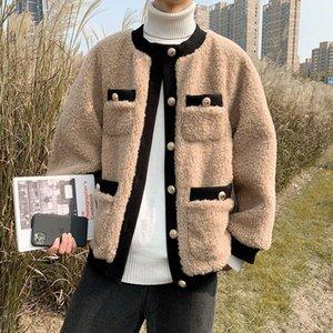 Korean Style Lamb Wool Coat Men Thick Warm Wool Blend Overcoat Winter High Street Streetwear Lamb Faux Fur Coat Parkas Men