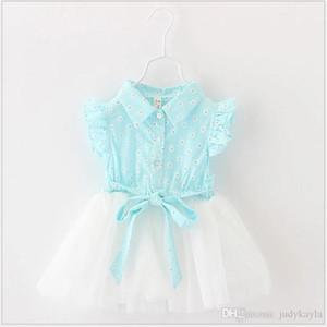 Cute Baby Summer Princess Dress 2017 New Baby Girl Lace Tulle Stitching Dresses Girl Floral Printed Dress Kids Ruffle Chiffon Skirt 4pcs / lot