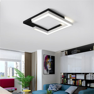 Minimalism Square plat led Modern led ceiling lights for living room bedroom kitchen lamp Black ceiling lamp light fixtures RW212