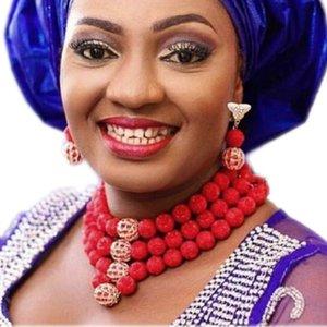 4ujewelry Original Coral Beads Set di gioielli Red 3 Layers Choker Donna Africana Gioielli Nigeriani Collana di nozze Set Dubai 2018