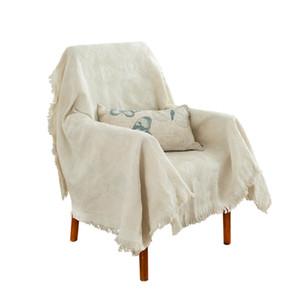 Funda de sofá de color sólido de 230 cm x 250 cm manta gruesa cubierta de silla de sofá de punto mantel