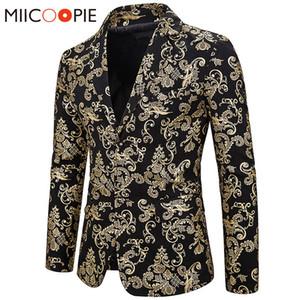 Costumes hommes blazers bronzants dorés blazer veste blazer imprimé floral robe de scène de mariage hommes slim fit masculino à poitrine unique