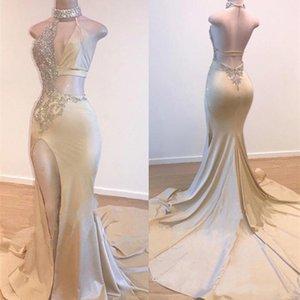 Muhteşem Yüksek Boyun V-Yaka Champagne Denizkızı Gelinlik Modelleri 2020 Uzun Yarık Abiye Giyim Durum Önlükler Plus Size Prom Parti Elbise