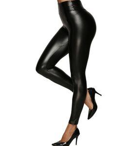Moda Kadın Stretchy Sahte Deri Tozluklar Büyük Kızlar Artı boyutu Seksi Yüksek Waisted Tayt Parlak PU Skinny pantolonlar siyah S-5XL