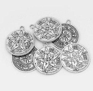Charms Tetragramma Plata Talisman Pentagram Pagan Wiccan Talisman pendente della lega gotica amuleto d'argento per Gioielli Bracciali