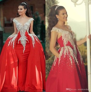 2020 Red sirène Robes de Quinceanera avec robe détachable train cristal perlé de bal de soirée Party Robes robe de soirée