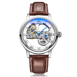 Gorben PU кожа мужчины механические часы самостоятельной ветер автоматические механические часы Часы Бизнес Спорт Наручные часы