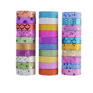 10PCS Glitter Washi Ruban Rubans adhésifs décoratifs bricolage scrapbooking photo couleur Masking Tape Fournitures scolaires Stationery Office T200229 2016