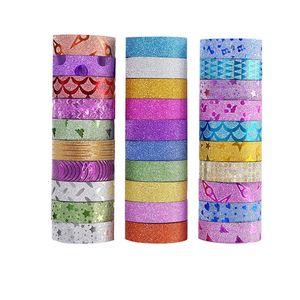 10PCS Glitter Washi Tape Nastri adesivi fai da te Scrapbooking decorativo Photo Color Masking Tape Scuola Forniture Stationery Office T200229 2016