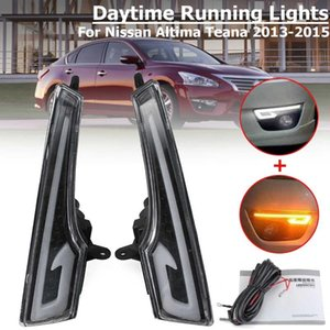 2Pcs Car LED Front Bumper Daytime Running Lights DRL Turn Lamps Signal Lighting Driving for Altima Teana 2013 2014 2020