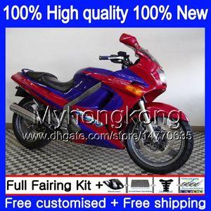 Kit Bodys per Kawasaki ZZR 250 1990 1995 1996 1997 1998 1999 Red blu 251MY.50 ZZR250 90-99 ZZR250 90 95 96 97 98 99 carenatura + 7Gifts