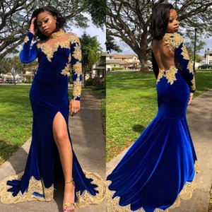 2020 Velvet Arabic African Prom Dresses High Collar Long Sleeve Gold Lace Appliques Mermaid Evening Gowns robes de mariée