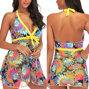 Push Up Plus Size Swimwear Halter malha terno de banho de duas peças Tankini Monokini Praia Swimsuit Big meninas Swim Wear