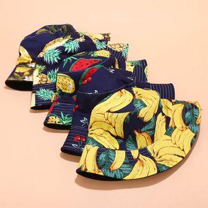 Frauen Männer Panama Sommer Reversible Bucket Hat Harajuku Hip Hop Bucket Cap Frucht-Ananas Banane Wassermelone drucken Fischer-Hut Mutterschaft
