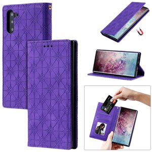 For Samsung Galaxy Note 10 Note 10 5G Case Flip Cover Stand PU Leather Embossed lucky flower Strong magnetism Auto adsorption
