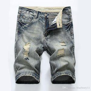 ممزق أزياء الصيف جينز السببية الهيب هوب الرجال سروال جينز مستقيم الرجال السراويل الركبة بالاضافة الى حجم 28-40