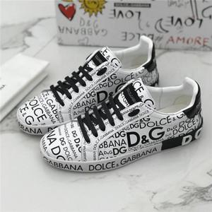 Мужчины Sneaker Portofino Printed Напа телячьей тапки Роскошные дизайнерские туфли Плоский Узелок Tag украшение резиновой подошвой Мужская Graffiti Sn