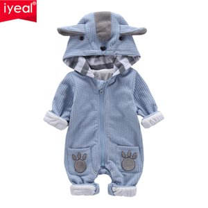 IYEAL New Autumn Winter Baby Rompers Cute Hooded Cartoon Ear Infant Girl Boy Jumpers Kids Toddler Baby Boy Outfits ClothesMX190912
