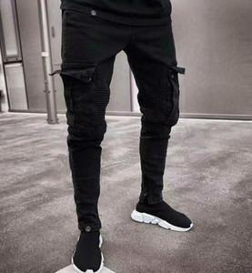 Kühle Herren Designer Jeans Frühling und Herbst Schwarz Ripped Distressed Holes Design Jean-Bleistift-Hosen-Taschen Hommes Pantalones