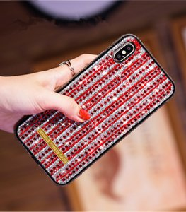 Gridding amanti strass cassa del telefono di Skidproof 2in1 completamente diamante Defender per l'iPhone Xr 11 Pro Xs Max X 7 8 6Plus