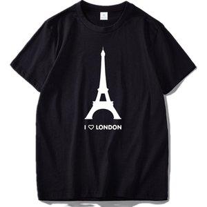 2019 camisa New Eu amo Londres T Torre Eiffel engraçado Romantic Design de Moda camiseta Homme algodão macio Hipster