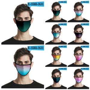 2020 The New Gradient Mask 3D Printing Fashion Face Mask Ice Silk Cloth Can Be Washed And Reused Face Mask 24 Style T3I5893