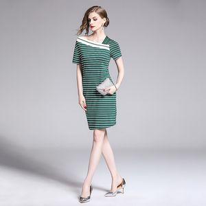 Summer Womens Short Sleeve Striped Party V- Neck Bodycon Beach T-shirt Dress Elegant Beach Holiday Plus Size Party Slim Dresses