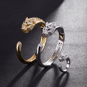 2020 Light Luxury Leopard Head Gold Plated Bracelet and Ring Couple Jewelry Inlaid Zircon Bracelet Ring Jewelry for Women and Men