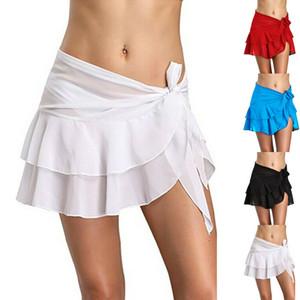 Mulheres saias curtas Swimwear Ruffle Bandage Sarong envoltório da praia Cover Up Skirt US