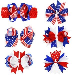 Clip Bambini Bow forcine American Flag capelli per mollette ragazze Barrettes accessori Bambini Baby Girl headdress